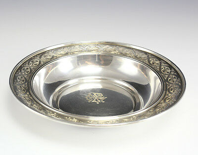 Sterling Silver Bowl Marcus & Co. New York , hand engraved rim. Weight 16.5toz