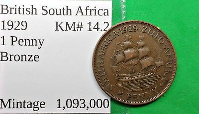 World Foreign Old British South Africa 1929 Coin 1 Penny KM# 14.2  !!