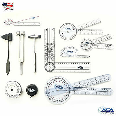 Goniometer Physical Therapy Complete Set W/Bonus Reflex Hammer Including 12,8,6