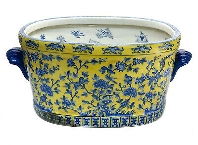 Chinese Fish Bowl Early 20th Century Hand Painted Fish Design, Yellow & Blue