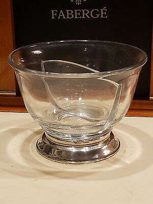 Art Deco Cartier Sterling Silver & Crystal Divided Condiment Bowl 5 Inch