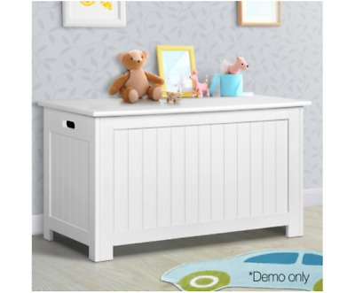 Toy Storage Box Bench Kids White Nursery Chest Cabinet with Lid Bedroom Playroom