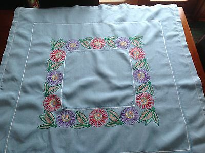 VINTAGE HAND EMBROIDERED Blue LINEN TABLECLOTH - 40x40 INCHES