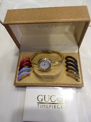 0a014c73268 Vintage Gucci Bangle Bracelet Watch With Interchangeable Bezels Original Box