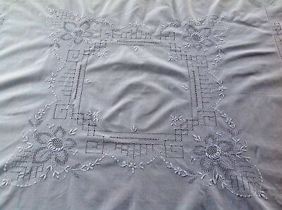 Beautiful Vintage Hand Embroidered Fine White Cotton Tablecloth 47X49 Inches