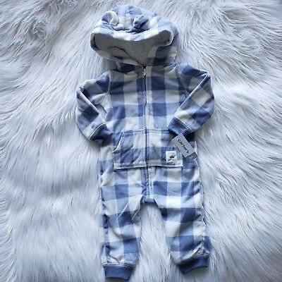 5f46606cf Carter's Baby Boy Blue White Plaid Hooded Fleece Jumpsuit Size 6 Months