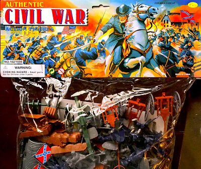 Deluxe Civil War Playset Toy Soldiers, cannons, blue & gray soldiers flags L@@K!
