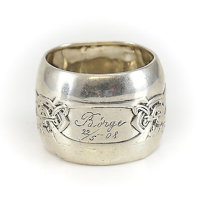 Danish 830 Silver Napkin Ring Hand Chased Norse Knot Design 14.26g