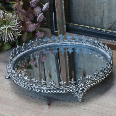 Vintage Mirrored Serving Tray Wedding Candle Display Plate Antique Silver Colour