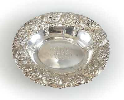 Simons Bros Sterling Silver Repousse Foliate Scroll Rim Oval Nut Dish #391,c1890