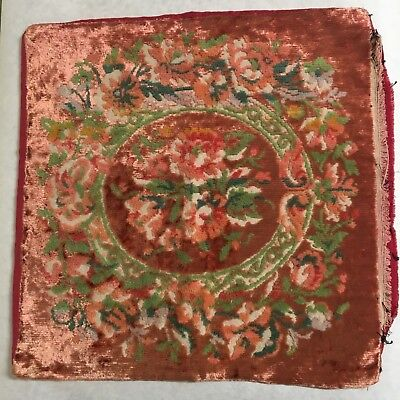 Old Vintage Pillow Cover Sham Pink Plush Velvet Floral Rococo Style
