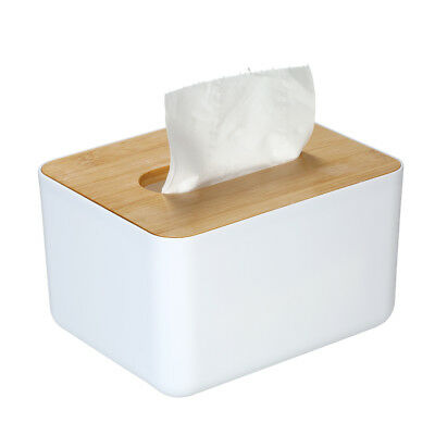 Modern Tissue Box Napkin Paper Case Tissue Holder with Natural Bamboo Cover W1H2