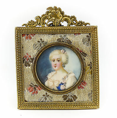 French Miniature Portrait Gilt Bronze Frame Hand painted signed 19th Century