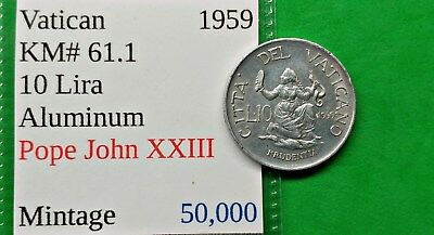 World Foreign Old 1959 Vatican 10 Lira Coin KM#61.1 Pope John XXIII Low Mintage