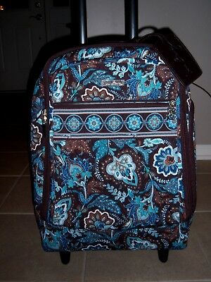 """New C Vera Bradley Java Blue 19"""" Rolling Luggage Suitcase Carry On w Luggage Tag"""