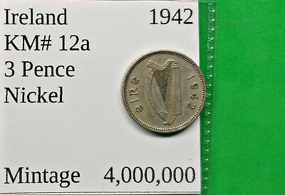 World Foreign Old 1942 Irish 3 Pence Coin KM# 12a Ireland !!