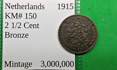 World Foreign Nice Old 1915 Netherlands 2 1/2 Cent Coin KM# 150  Dutch !!