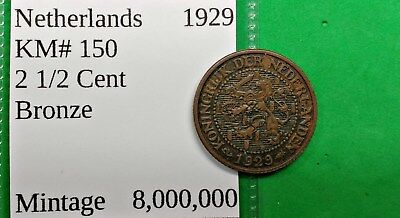 World Foreign Nice Old 1929 Netherlands 2 1/2 Cent Coin KM# 150  Dutch !!