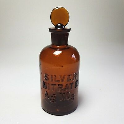 Vintage Amber LABORATORY BOTTLE Glass SILVER NITRATE Raised Lettering w/ Stopper