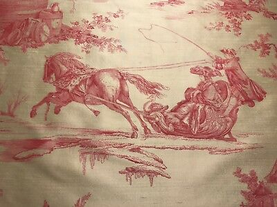"Lee Jofa ""Seasons Silk"" Pink romantic toile fabric remnant, 15""x19"""