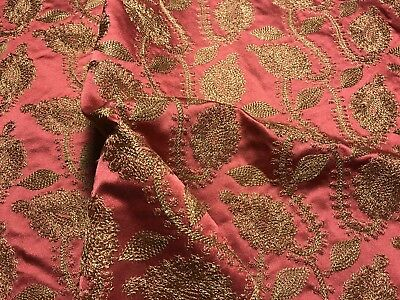 "DESIGNER GOLD EMBROIDERED PINK SATIN/SILK  FABRIC REMNANT, 17""x26"""