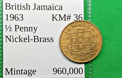 World Foreign Old British Jamaica 1963 Coin 1/2 Penny B.U. KM# 36 !!