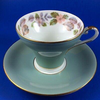 Aynsley Sage Green With Floral Wreath Corset Bone China Tea Cup And Saucer