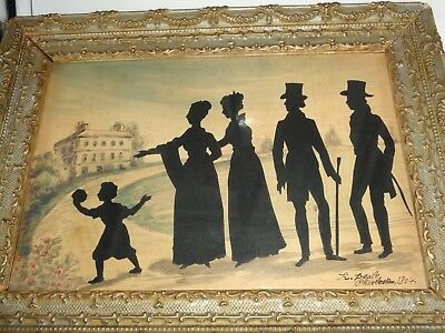 REMBRANDT PEALE 1824 Silhouette group Watercolor landscape 10 x 7 Signed Framed