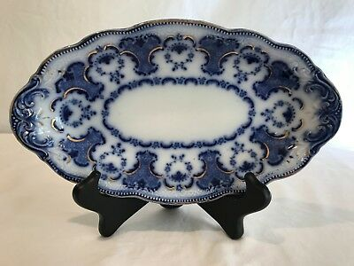 WH Grindley England Flow Blue Alton Pattern Oval Sauce Dish