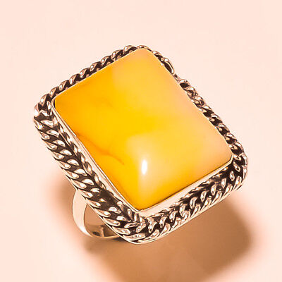 Baltic Amber Gemstone 925 Sterling Silver Ring Jewelry Size 6.25 18990760