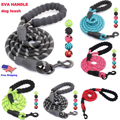 Dog Pet Clip On Lead Leash Strong Heavy Duty Tough Nylon Rope Walking Uk