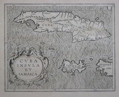 Original 1597 Wytfliet Map CUBA JAMAICA CAYMAN ISLANDS Ram's Head Cartouche