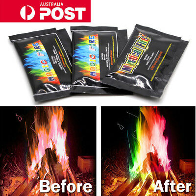 AU Mystical Magic Trick Fire Coloured Flames Bonfire Sachets Fireplace Toy Gifts