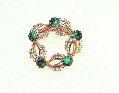 Vintage Green Rhinestone Circle Brooch / Pin Goldtone Leaf Design Metal Jewelry
