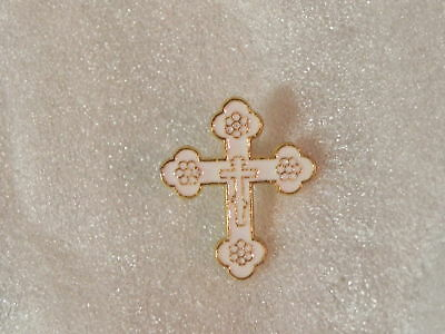 BUDDED CROSS Pin WHITE Enamel Lapel Brooch Badge Christian Orthodox NEW Nice