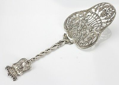 Dutch Silver Cake or Pie Server Raised design of shield with stork for Hague