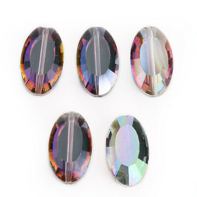 5pcs 22x13mm Faceted Rose Red Green Oval Glass Crystal DIY Loose Beads Finding