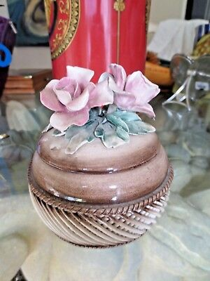 Visconti Mollica Capodimonte Trinket Box,Lid w/Raised Flowers,Basket Weave Italy