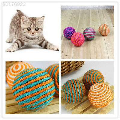 A9B4 1x Cat Kitten Sisal Rope Weave Ball Teaser Chewing Rattle Scratch Catch Toy