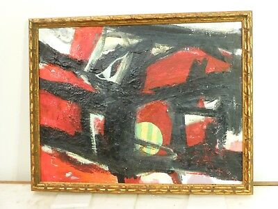 VINTAGE ABSTRACT MODERNIST OIL PAINTING Mid Century Modern Signed 1970