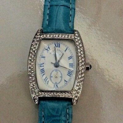 Phoenix Women's Silver Rectangle Watch CrystaL Gemmed Blue Genuine Leather Band!