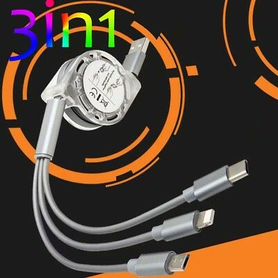 3 in 1 Multi USB Charger Charging Cable Cord For i Phone TYPE C Android Micro