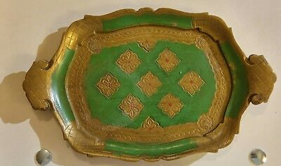 """Vintage Italy Florentine Gold Green Handled Tray 12 1/4"""""""