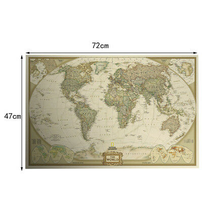 New Cool Retro World Map Antique Paper Poster Wall Chart Home Decoration 2018