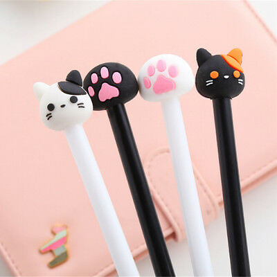 4X Korean Stationery Cute Cat Rollerball Pen/Gel Black Ink Pens School Supply~~