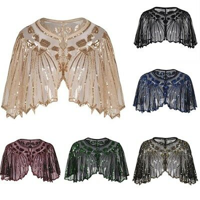 AU Women 1920s Shawl Beaded Sequin Deco Evening Cape Bolero Flapper Cover up