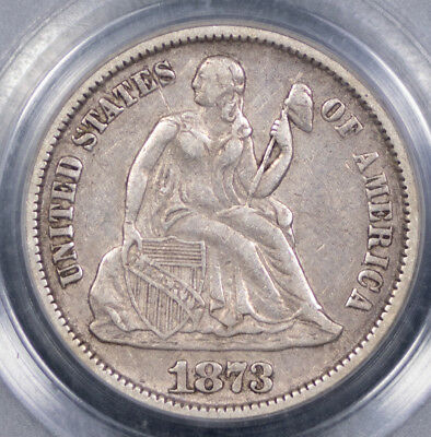 1873 Open-3 10c No Arrows - Liberty Seated Dime - F-106 - PCGS Graded XF40,