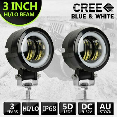 2pcs 3''inch Cree LED Spot Work Driving Light Blue & White For Motorcycle Truck