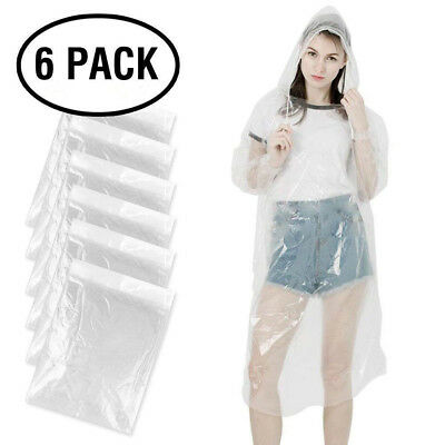 Rain Poncho Disposable Clear Adult Ponchos W Hood 6 Pack Raincoat For Men