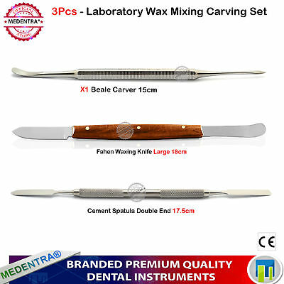 3pcs Dental Lab Technician Kit Wax Mixing Spatula Carving Knife Carver Beale Set